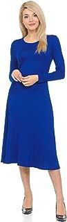Women's Long Sleeve A-Line Midi Dress