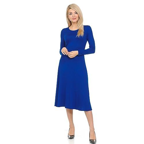 ac3f8161e3e iconic luxe Women's Long Sleeve A-Line Midi Dress