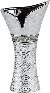 formano W19 Vase décoratif en Forme de Tulipe en Argent avec Strass en céramique Argenté 40 cm