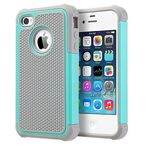 iPhone 4S Case, iPhone 4 Case, UARMOR Shockproof Dual Layer Protective Hybrid Hard PC Cover TPU Bumper Scratch Resistant Durable Phone Case for Apple iPhone 4 / iPhone 4S, Mint Green/Gray