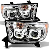 For Toyota Tundra Pickup Chrome Clear Exclusive Halo Projector Ultra Bright SMD DRL LED Headlights