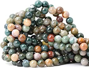 CHEAVIAN 45PCS 8mm Natural Indian Agate Gemstone Round Loose Beads for Jewelry Making DIY 1 Strand 15