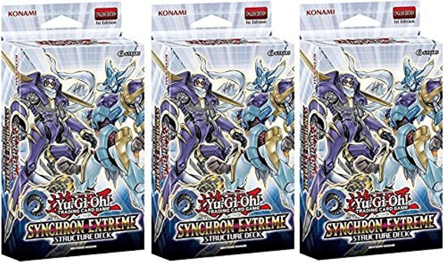 Lot of THREE(3) Yugioh Card Game SYNCHRON EXTREME English 1st Edition Structure Decks  by Yu-Gi-Oh