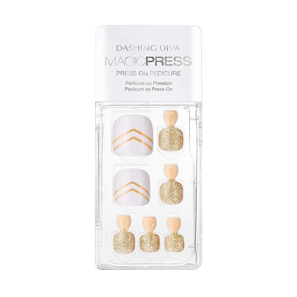 白鳥再集計着替えるDashing Diva - Magic Press - Press-On Pedicure - Golden Moment - 24 Pieces