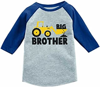 Big Brother Gift for Tractor Loving Boy 3/4 Sleeve Baseball Jersey Toddler Shirt