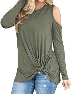 96b4d51fd2ed4 Womens Shirt, Jiayit Women Casual Cold Shoulder Shirts Tops Long Sleeve Tie