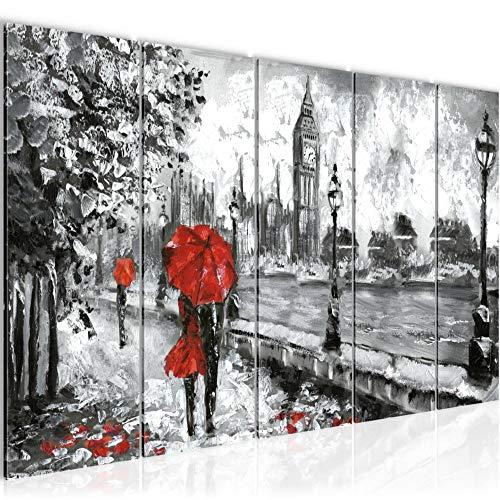 Bilder London Wandbild 200 x 80 cm Vlies - Leinwand Bild XXL Format Wandbilder Wohnzimmer Wohnung Deko Kunstdrucke Rot 5 Teilig - MADE IN GERMANY - Fertig zum Aufhängen 024355a