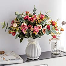 YILIYAJIA Artificial Rose Bouquets with Ceramics Vase Fake Silk Rose Flowers Decoration for Table Home Office Wedding (Dark red)