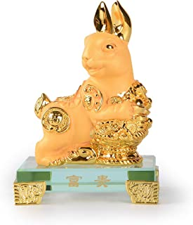 PopTop Brass Golden Resin Feng Shui Statue Chinese Zodiac Rabbit Home Office Table Top Decor Figurine Gift Collection PTZY103