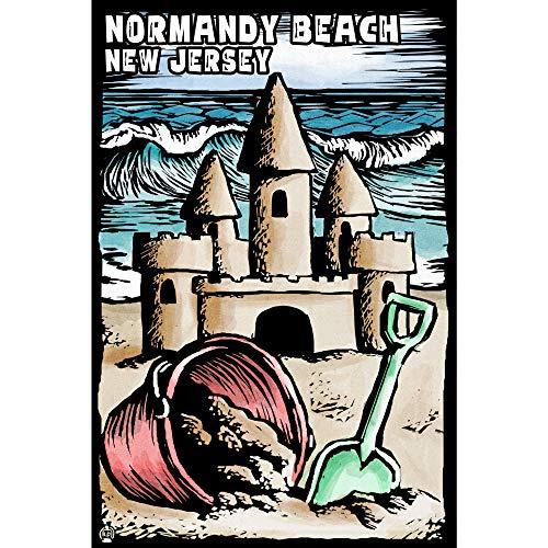 Normandy Beach, Nueva Jersey, Rascador de castillo de arena, impresiones artísticas, letrero de metal decorativo para colgar en la pared, decoración del hogar