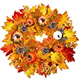TURNMEON 15' Fall Wreath Thanksgiving Decorations for Front Door with Pumpkins Pinecone Berry Artificial Maples Leaves Wreath Autumns Harvest Fall Thanksgivings Decoration Indoor Outdoor Decor