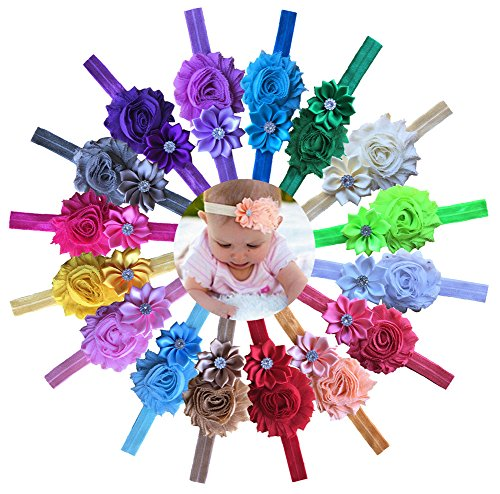 Qandsweet Baby Girl Headbands with Polygonal Flower Inlay Rhinestone for Photography (16 Pack)