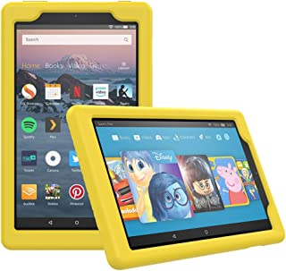 MoKo Case for All-New Amazon Fire HD 8 Tablet (7th/8th Generation, 2017/2018 Release) - [Honey Comb Series] Light Weight Shock Proof Soft Silicone Back Cover [Kids Friendly] for Fire HD 8, Yellow