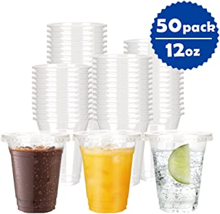 OTOR 50-Pack 12oz Clear Plastic Cups with Flat Lids - Disposable Cold Drink Party Cups, Iced Coffee Cups Polypropylene (PP)