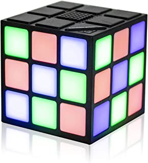 LED Cube Music Player Wireless Bluetooth Speaker, Rubiks Cube Style Color Changing Portable Stereo Speaker Light Up Show w/Micro SD (TF) Card Slot & 3.5mm Aux Input Jack (Cubic Speaker)