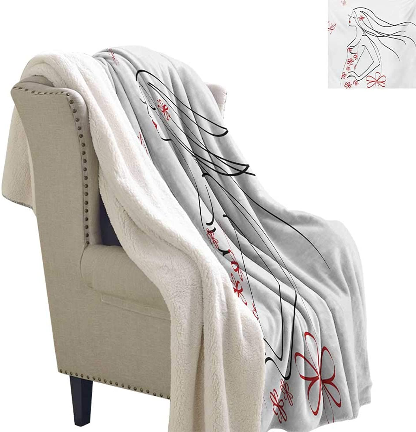Sunnyhome Girls Throw Blanket 60x32 Inch Young Girl in Dress with Flower Ornamentals Butterfly Blowing Hair Art Soft Premium Cotton Thermal Blanket Charcoal Grey Vermilion