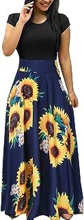 Elegant Women's Maxi Dress Floral Printed Autumn Long Sleeves Casual Tunic Long Maxi Dress …