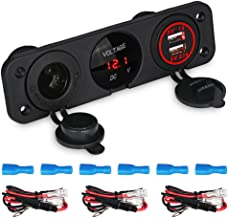WATERWICH 2 3 4 Hole Marine Illuminated Toggle Rocker Switch Panel Waterproof Ignition Rocker Switch 12V-24V Volt Meter for RV Car Boat Trailer Vehicles Truck Yacht SUV (3 Hole Red)