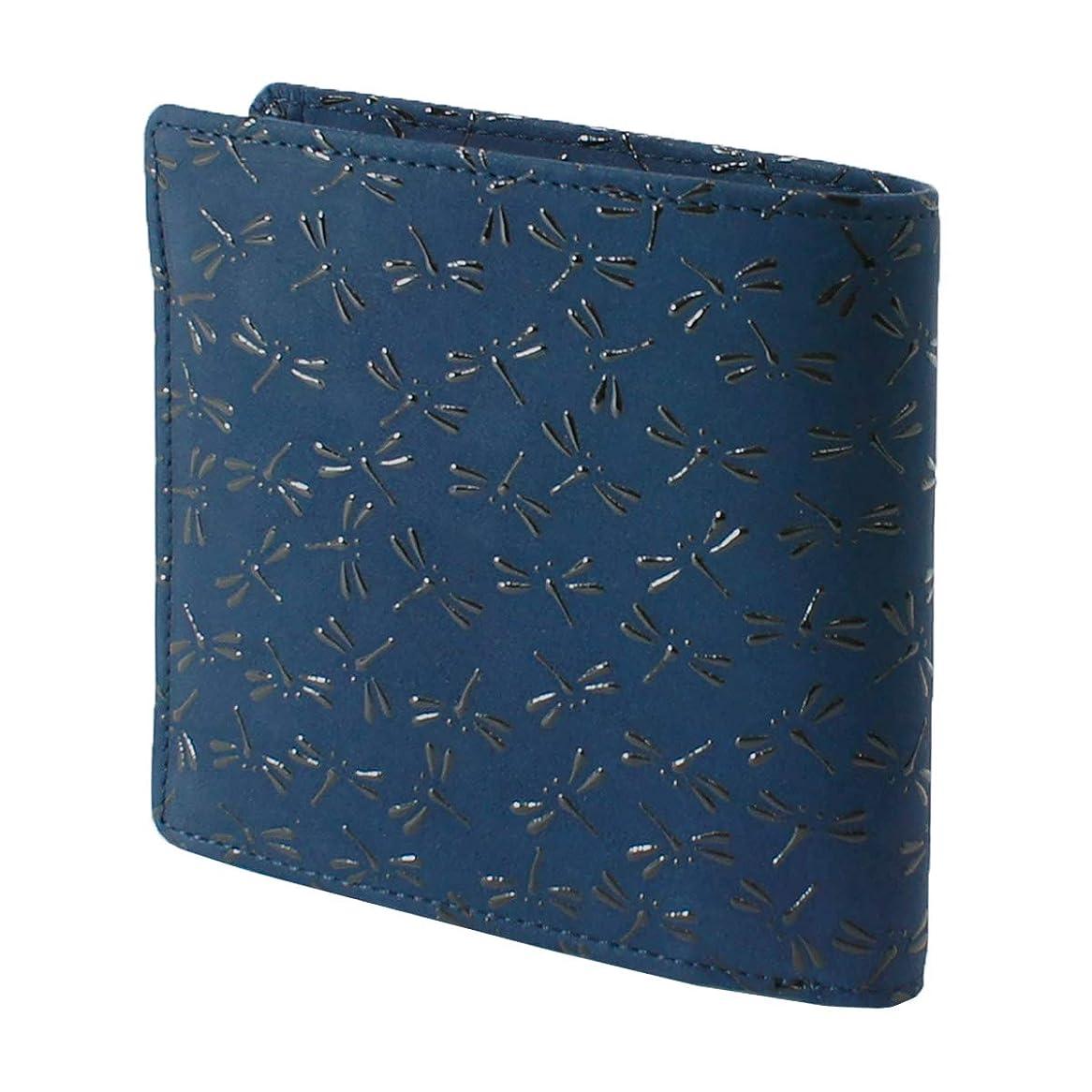 ミルク皮肉する必要があるINDEN-YA 印傳屋 印伝 財布 二つ折り財布 メンズ 男性用 紺×黒 とんぼ 2008-04-008
