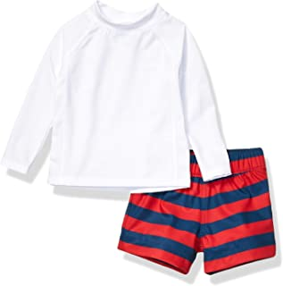 Amazon Essentials UPF 50+ Baby Boy's 2-Piece Long-Sleeve Rashguard and Trunk Set