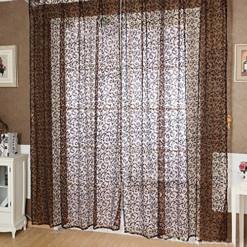 Top van top winkel Flocking Bloemen Gedrukt Sheer Wall Room Divider Gordijn Sheer Panelen Drape Sjaal Valances Blinds Raam Ophangingen Decor
