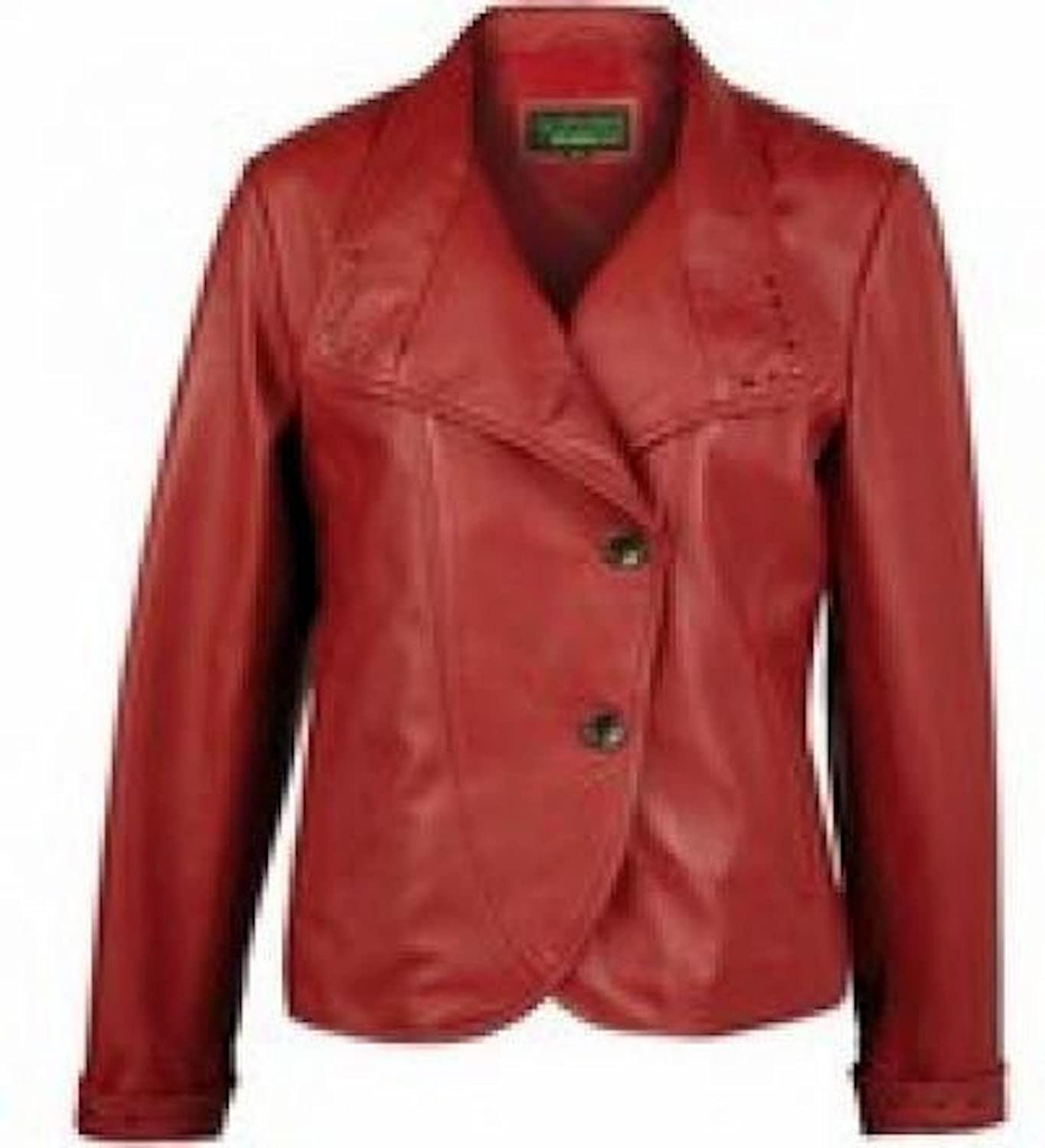 Fadcloset Womens Red Leather Blazer
