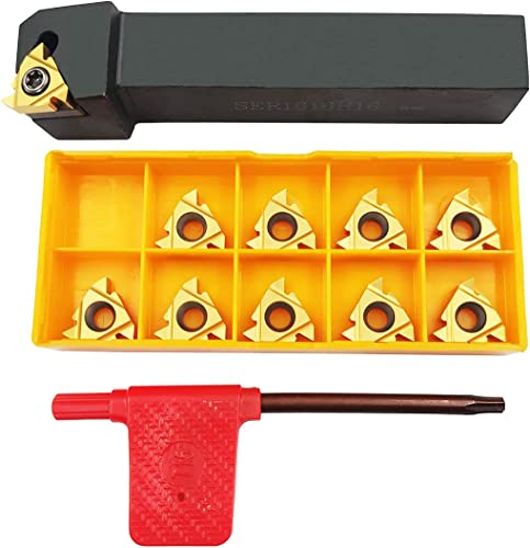 """discount ASZLBYM 5/8"""" 3/4"""" Lathe Tool new arrival Threading Insert Turning Tool Holder outlet online sale SER1616H16 SER2020K16 SER2525M16 with Indexable Threading Turning Insert 16ER AG60 Cutting Insert Blade (5/8"""" (1616mm)) online sale"""