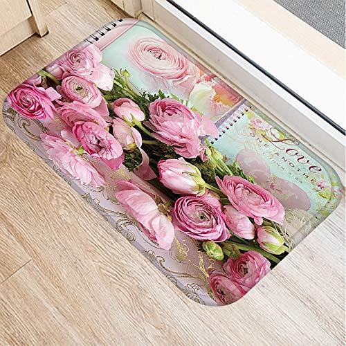 HLXX Pink Flower Printed Küchenmatten Anti-Rutsch-Gummi Tapete Geschenk EIN Wohnzimmer Balkon Badezimmer Teppich Fußmatten im Flur A5 40x60cm