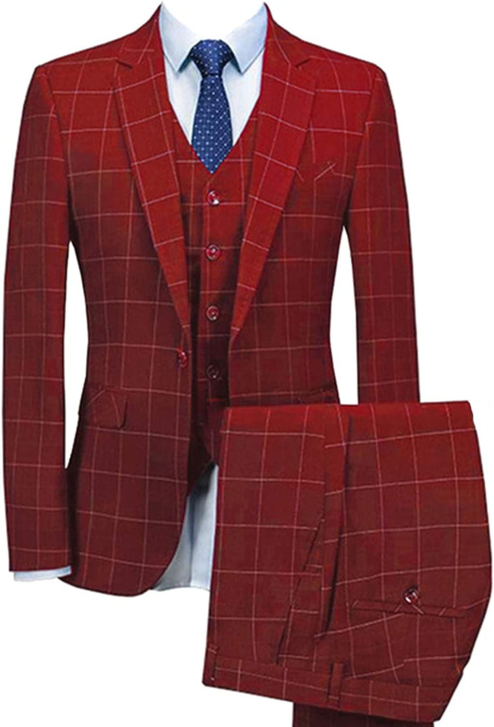 HOTK Men's Suits Handsome Notch Lapel Safety and trust Pieces Max 68% OFF Plaid 3 Bus Wedding