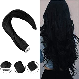 Hetto Jet Black Human Hair Tape in Extensions 20in Tape in Hair Extensions Color #1 Black Remy Hair Extensions Skin Weft Human Hair Extensions 50G 20PCS Glue in Hair