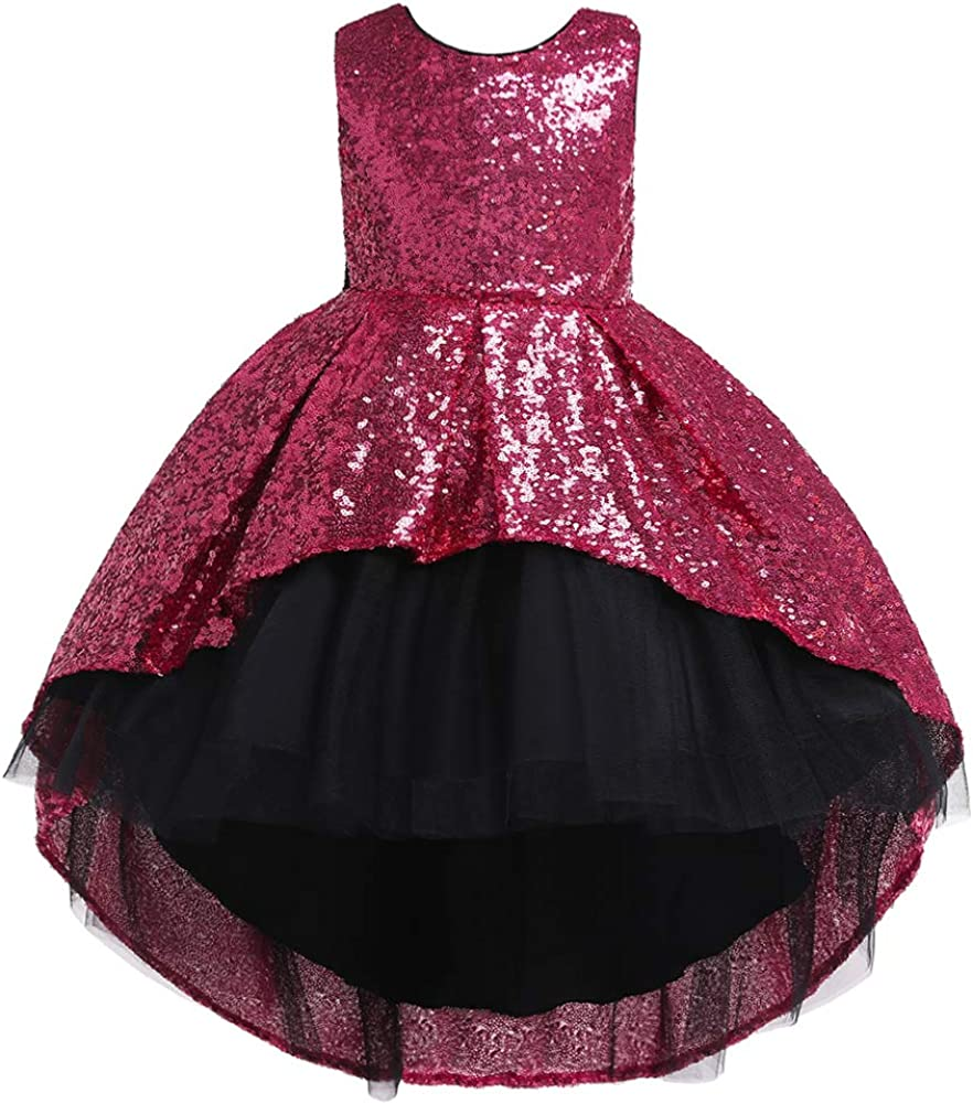 OrangeLily Christmas Girl Dress with Gold Sequin hi Low Skirt and Black Bow for Party, Birthday, Flower Girl, New Year 3-10