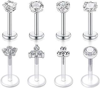 16G Acciaio inossidabile Diamond CZ Piercing Orecchio Trago Chiaro Bioflex Retainer Labret Stud Piercing Labbro Anello Pie...