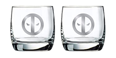 Deadpool Whiskey Glasses - Collectible Gift Set - Official Marvel Product - 10 oz. Capacity - Set of 2 - Classic Design - Sturdy Base - Perfect for Scotch, Bourbon, and Old Fashioned Cocktails