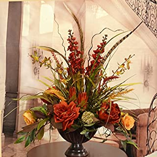 Orchid, Rose and Feather Silk Flower Arrangement