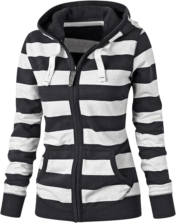 SKOLL Women's Zip Up Long Sleeve Hoodie Sweatshirt Striped Lightweight Drawstring Casual Pullover Jacket with Pockets