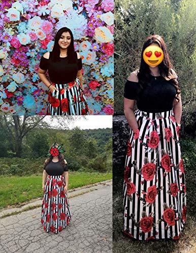 GNRSPTY 2 Piezas Mujer Vestidos Casual Verano para Boda Básica Top sin Tirantes + Falda Largos Retro Rosa Impresaho de Fiesta Playa Ceremonia,Color 1,L