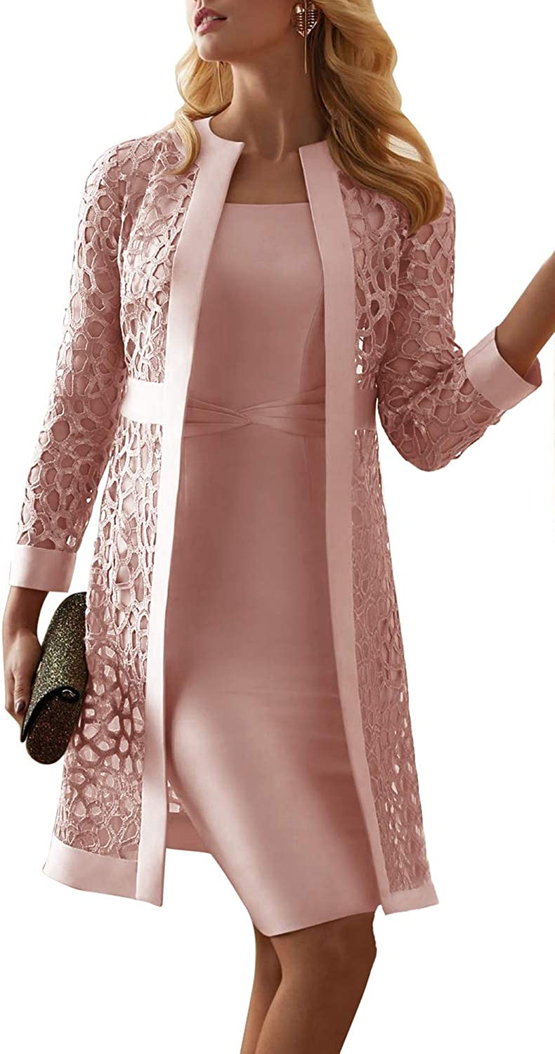 Newdeve Women's 休日 在庫一掃売り切りセール Formal Dresses Tea Length with Mother Jacket of