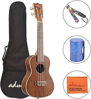 ADM Concert Ukulele 23 Inch Adult Beginner Uke Kit, Small Guitar Bundle with Gig Bag, Finger Sand Hammer Bell and Strap