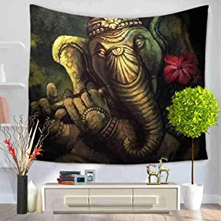 DGTDMRX Tapestry Wall Hangings,Animal Elephant Playing The Flute Printing Bohemian Tapestries,Large Psychedelic Beach Towel Tablecloth,for Home Dorm Room Wall Decor 230×150Cm