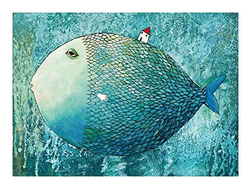Colección de animales bajo el agua rompecabezas - Sr. Carp Llevar una casa - 1000 piezas Puzzles 30x20 pulgadas Única decoración de juguete regalo de la pintura (70x50cm) JISHIYU