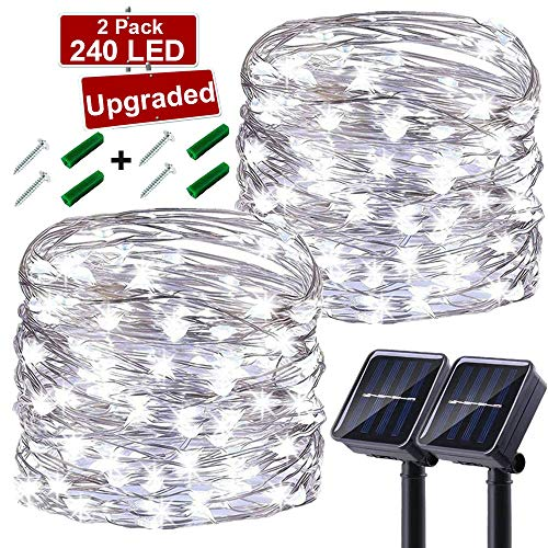 LiyuanQ Solar String Lights Outdoor, Upgraded 2 Pack 240 LED Solar Fairy Lights 78ft 8 Modes Waterproof Outdoor Garden Light Copper Wire Lighting for Wedding Patio Yard (Cool White)[Energy Class A+++]