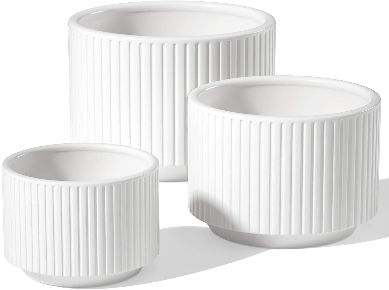 LE TAUCI Plant Pots, Large Planter Ceramic, 9.3+8+6.7 inch Pots for Plants with Drainage Holes, Garden Planters Outdoor, Indoor House Plants, Cylinder Modern Planter for Home, Set of 3, White