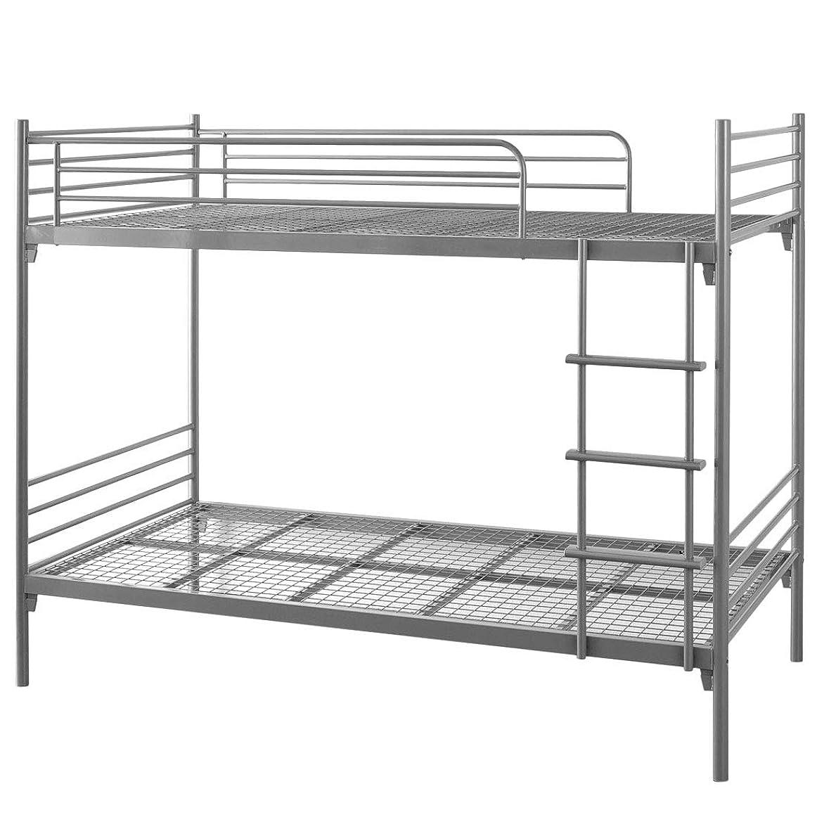 タンスのゲン 二段ベッド スチール パイプ 2段ベッド コンパクト LITH リト シルバーグレー 65190027 SI 【大型商品】
