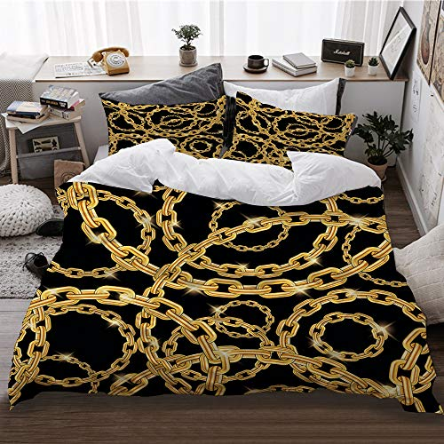 KASABULL Bettwäsche,Nahtloses Wiederholungsmuster Goldketten schwarzer Hintergrund,1 Bettbezug(200 * 200cm)+ 2 Kopfkissenbezug,3 teilig microfaser warme Bettbezüge, mit Reißverschluss
