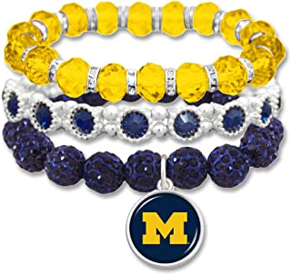 FTH Licensed U of M Crystal Michigan Wolverines College University Stacks Bling Stretch Bracelet with Gift Box