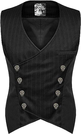 Punk Rave Hombre Steampunk Chaleco Camiseta Negro Gótico Victoriano CABALLERO Boda