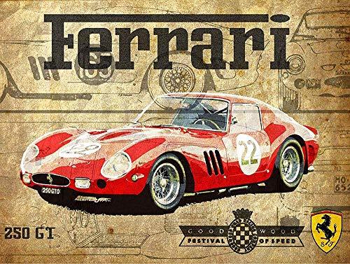 HALEY GAINES Ferrari Car Placa Cartel Póster de Pared Metal Vintage Cartel de Chapa Decorativas Hojalata Signo para Bar Café Cocinas Los Baños Garajes 20×30cm