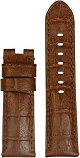 24mm XL Panatime Honey-Red Genuine Leather Gator Watch Band with Match Stitching to fit Original Panerai Deploy Buckle 24/22 125/85