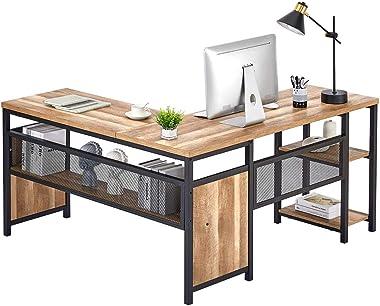 FATORRI L Shaped Computer Desk, Industrial Office Desk with Shelves, Rustic Wood and Metal Corner Desk for Home Office (Rusti