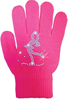 2 Pairs Girls Dance Skating Dressing Gloves Glove with Crystals for Parties